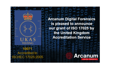 Arcanum Digital Forensics Achieves ISO17025 Accreditation